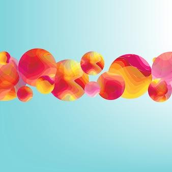 Cartaz de fluxo de cor com banner de bolas
