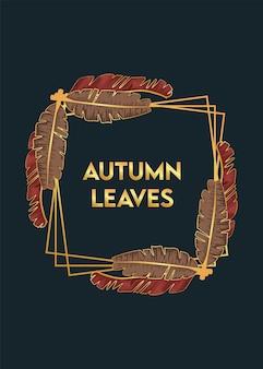 Cartaz de folhas de outono com folhas secas em moldura quadrada