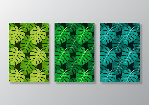 Cartaz de folhas tropicais abstratas cobre o fundo