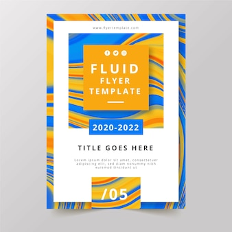 Cartaz de folheto colorido fluido laranja e azul