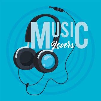 Cartaz de fone de ouvido azul
