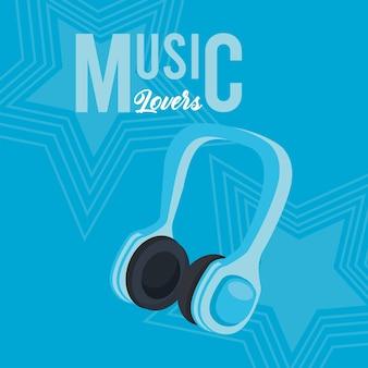 Cartaz de fone de ouvido com fundo azul