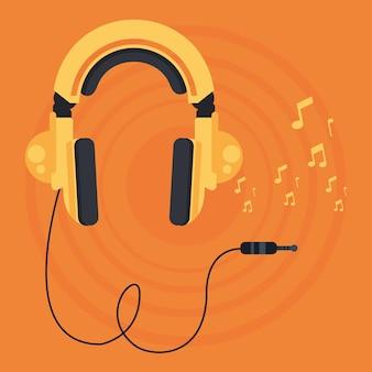 Cartaz de fone de ouvido com notas