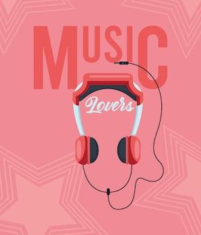 Cartaz de fone de ouvido para amantes da música