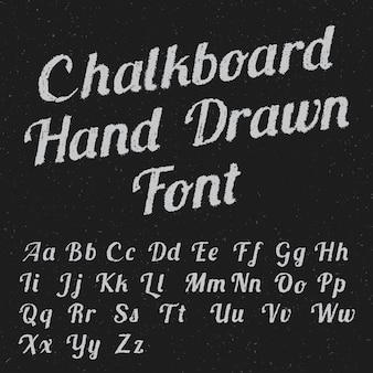 Cartaz de fonte desenhada à mão em quadro-negro com letras brancas pretas em ilustração escura