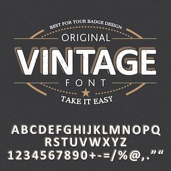 Cartaz de fonte vintage com alfabeto e palavras simplificam a ilustração