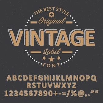 Cartaz de fonte vintage original com estrelas e palavras diferentes na ilustração preta