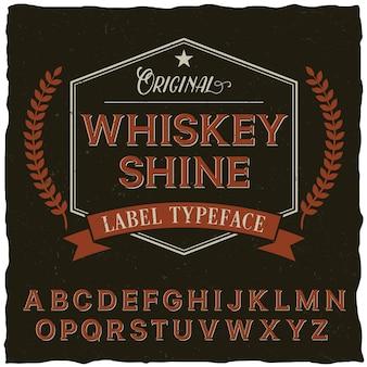 Cartaz de fonte whiskey shine com decoração e fita em estilo vintage