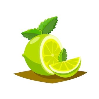 Cartaz de frutas de limão em estilo cartoon, retratando todo e metade de cítricos suculentos frescos
