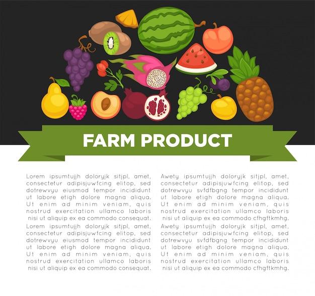 Cartaz de frutas orgânicas de alimentos saudáveis e bagas de fazenda.