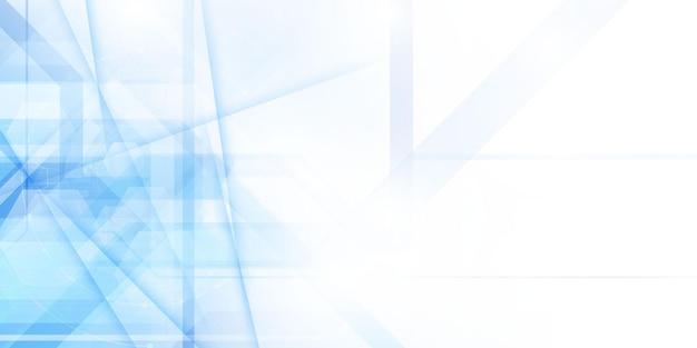 Cartaz de fundo abstrato azul e branco com rede de onda dinâmica de tecnologia.