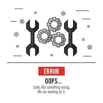 Cartaz de fundo branco com pinças e ferramentas de chave inglesa com oops de erro