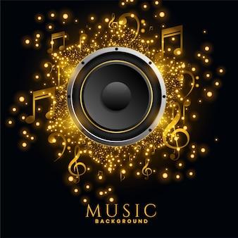 Cartaz de fundo de brilhos dourados de alto-falantes de música