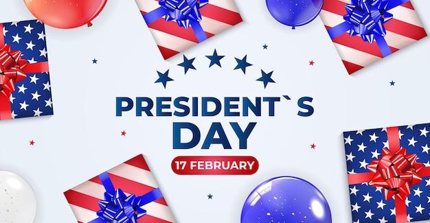 Cartaz de fundo de férias com balões para o dia do presidente dos eua