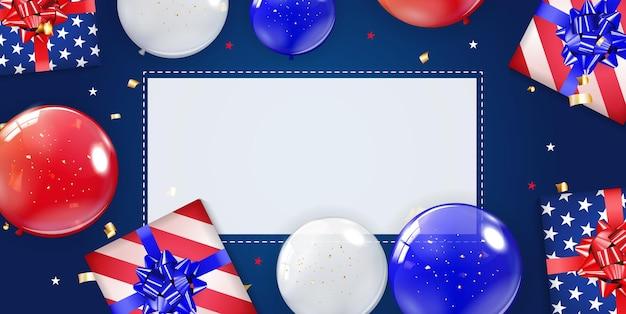 Cartaz de fundo de férias com balões para os eua
