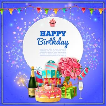 Cartaz de fundo feliz festa de aniversário