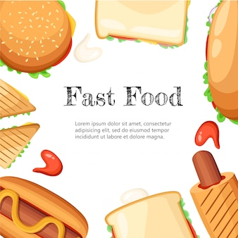 Cartaz de fundo preto de quadro colorido de restaurante fastfood com cachorros-quentes de salsicha de mostarda pipoca e página do site de ilustração de sorvete e elemento de aplicativo móvel.