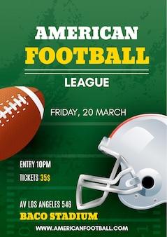 Cartaz de futebol americano com bola e capacete