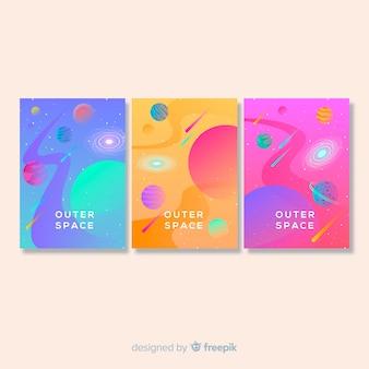 Cartaz de galáxia desenhada mão colorido