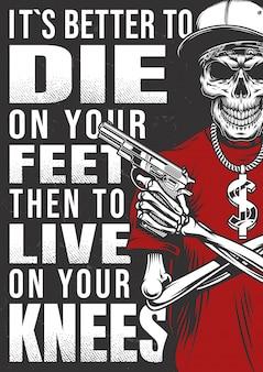 Cartaz de gangsta com esqueleto