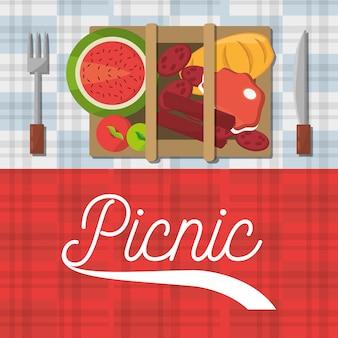 Cartaz de garfo e faca de comida de cesta de piquenique