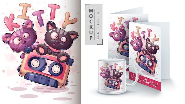 Cartaz de gatinho bonito e merchandising