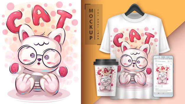 Cartaz de gatinho de pelúcia e merchandising