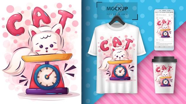 Cartaz de gatinho fofo e peso de merchandising