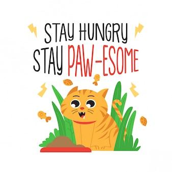 Cartaz de gato motivacional bonito