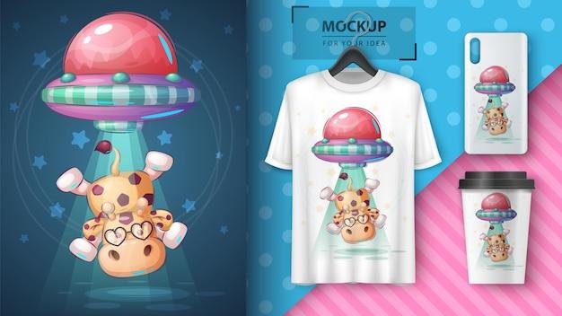 Cartaz de girafa ufo e vetor de merchandising eps 10
