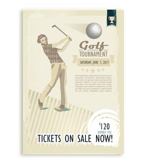 Cartaz de golfe retrô ou panfleto com um jogador de golfe
