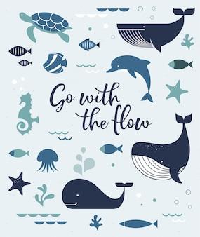 Cartaz de golfinhos baleias da vida marinha