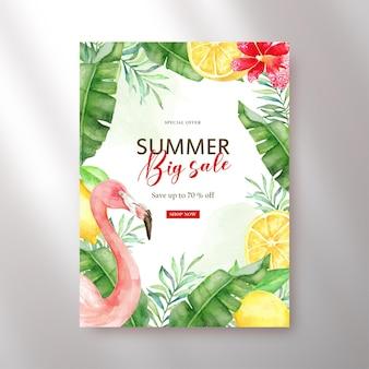 Cartaz de grande venda florais tropicais e aquarela de flamingo