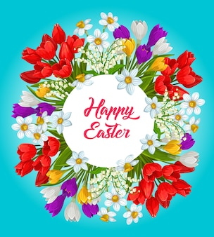 Cartaz de grinalda de flores de feliz páscoa