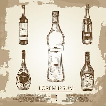 Cartaz de grunge vintage com bebidas de álcool elite mão desenhada