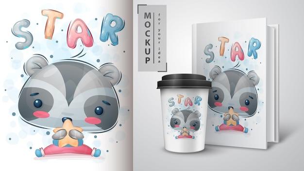 Cartaz de guaxinim estrela e merchandising