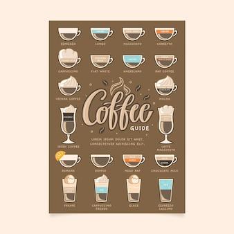 Cartaz de guia de café para o verão e inverno
