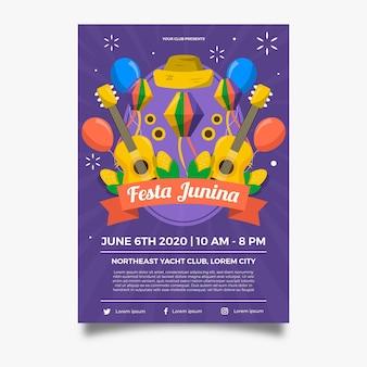 Cartaz de guitarra e balões de festa junina de design plano