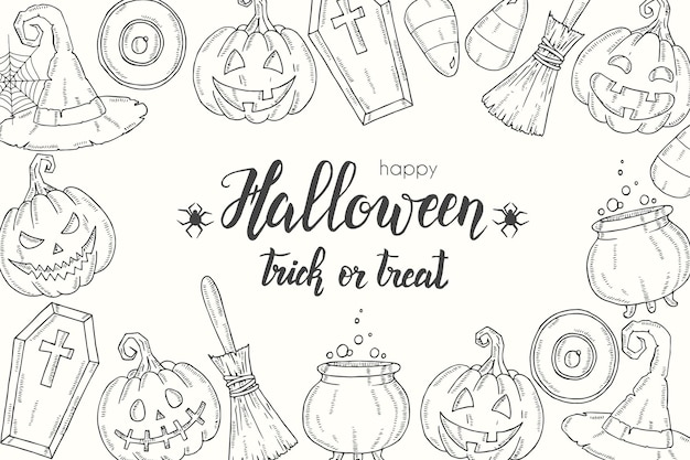 Cartaz de halloween com abóbora desenhada de mão jack, chapéu de bruxa, vassoura, chapéu, doces, raízes de doces, caixão, pote com potion''trick or treat
