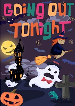 Cartaz de halloween com bruxa,
