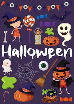 Cartaz de halloween com crianças em trajes