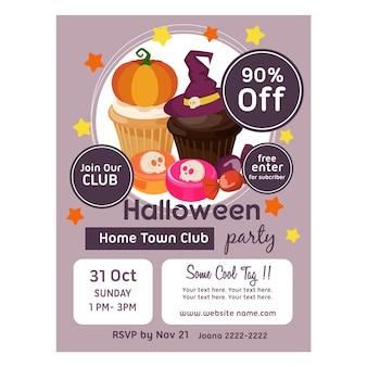 Cartaz de halloween com doces e doces