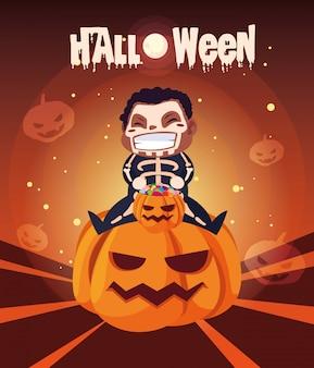 Cartaz de halloween com menino disfarçado de esqueleto