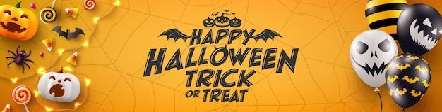 Cartaz de halloween e modelo de banner com balões de ar assustadores e elementos de halloween