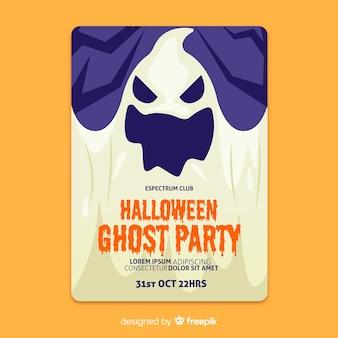 Cartaz de halloween plana de fantasmas assustadores de close-up