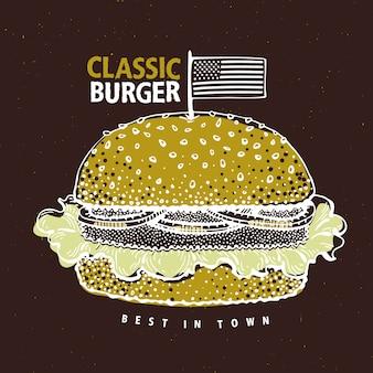 Cartaz de hambúrguer de fast-food. ilustração tirada mão do alimento com hamburguer clássico.