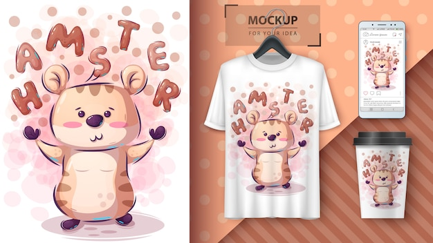 Cartaz de hamster bonito e merchandising
