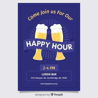 Cartaz de happy-hour de design plano