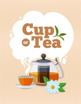 Cartaz de hora do chá com lugar para o seu texto