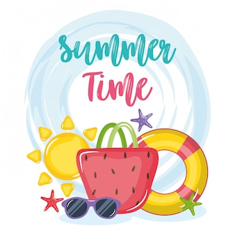 Cartaz de horário de verão com ícones de férias